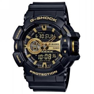 【CASIO 卡西歐】G-SHOCK 超人氣大錶徑系列/52mm/黑x金(GA-400GB-1A9)