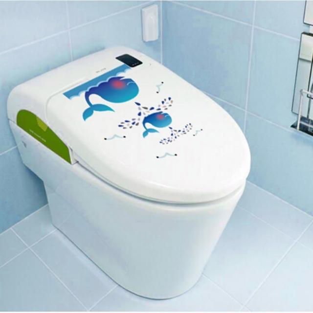 【半島良品】DIY無痕創意牆貼/壁貼-鯨魚馬桶貼-M1-52(無痕壁貼 牆貼 壁貼紙 創意璧貼)