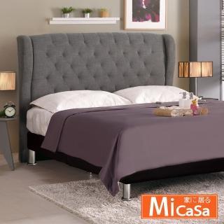 【MiCasa】多娜思 雙人5尺床頭片(灰色布)