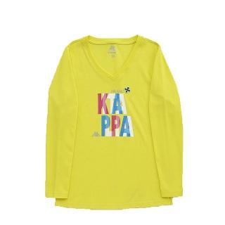 【KAPPA】義大利女吸濕排汗速乾彩色長袖衫(清黃 米蘭)