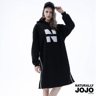 【NATURALLY JOJO】極長布塊繡刷毛洋裝(黑)