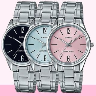 【CASIO 卡西歐】早安清爽鋼帶女錶-黑/藍/粉x34mm(LTP-V005D-1B/2B/4B)