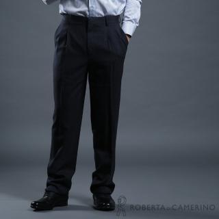 【ROBERTA 諾貝達】台灣製 都會休閒 羊毛西裝褲(深藍)