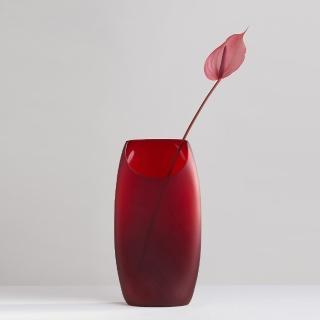 【3,co】玻璃月型口扁平花器-紅(9號)