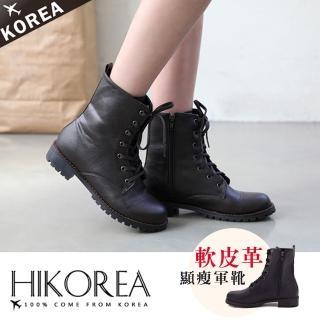 【HIKOREA】正韓製/版型偏小。荔枝紋皮革綁帶側拉鍊粗跟中筒馬丁靴(7-2987/現貨)