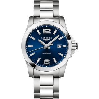 【LONGINES 浪琴】Conquest 300米石英錶-藍x銀/41mm(L37594966)