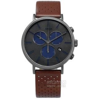 【TIMEX】復刻三眼 INDIGLO專利冷光照明 計時 日期 真皮手錶 灰x咖啡 41mm(TXTW2R80000)
