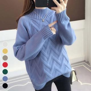 【MsMore】韓國網紅菱形織紋高領長袖針織毛衣103303#j(7色)