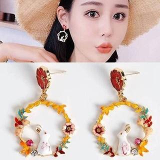 【梨花HaNA】無耳洞韓國仰望花園星空的兔子耳環夾式