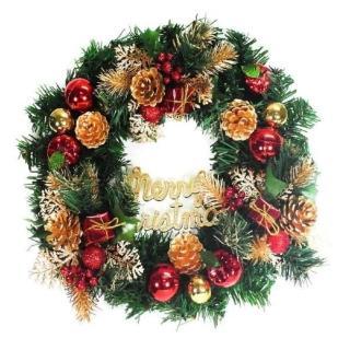 【摩達客】20吋豪華高級聖誕花圈(金色系 台灣手工組裝出貨)