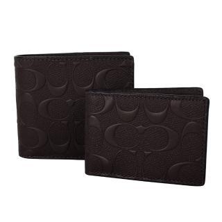【COACH】壓紋LOGO 防刮皮革/附活動卡夾/雙折短夾(深咖)
