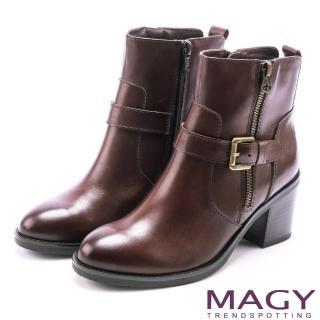 【MAGY】紐約街頭時尚 個性騎士皮帶釦環粗跟短靴(咖啡)