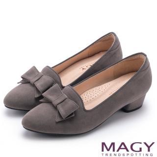 【MAGY】復古上城女孩 質感絨布蝴蝶結低跟鞋(灰色)