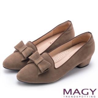 【MAGY】復古上城女孩 質感絨布蝴蝶結低跟鞋(可可)