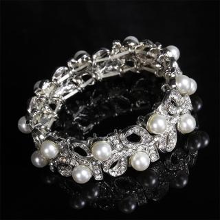 【Angel】珍珠花葉交錯浪漫水鑽彈性手環(白色)