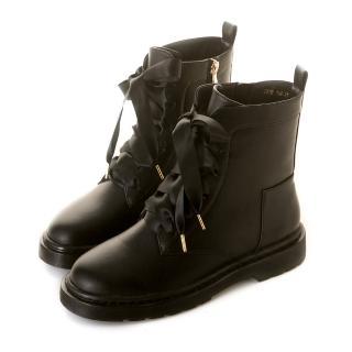 【amai】《半糖主義》甜美中性緞帶拉鍊軍靴(黑)