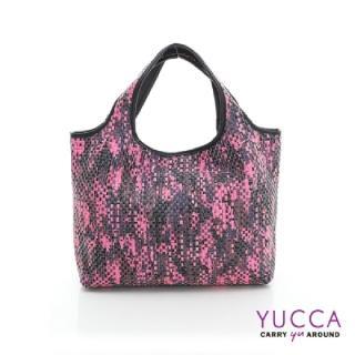 【YUCCA】國際潮流配色手工編織包-紫紅(D0118012C85)