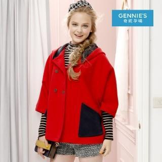 【Gennies 奇妮】時尚七分袖斗篷連帽外套(紅H6808)