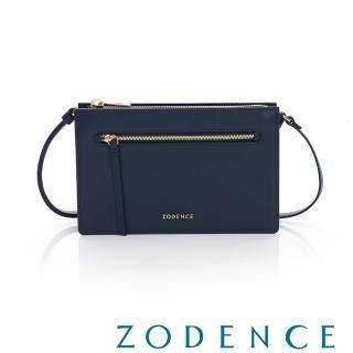 【ZODENCE 佐登司】ERATO系列 進口彩色牛皮拉鍊皮夾包-大(藍色)