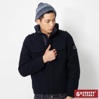 【5th STREET】男毛呢鋪棉長袖外套-黑藍