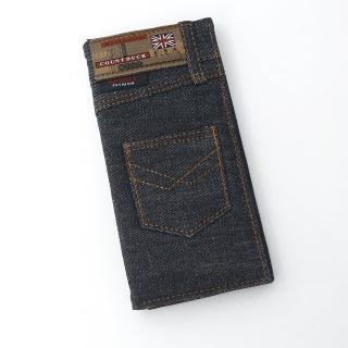 【玖飾時尚】口袋造型黑色牛仔長夾(皮夾)