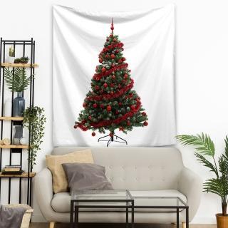 【聖誕布置/半島良品】24H發貨/聖誕裝飾掛布-紅聖誕樹/贈燈飾(掛毯 掛畫 沙灘巾 背景布  ins拍攝布景)