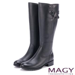 【MAGY】經典騎士 牛皮造型銅釦拉鏈長靴(黑色)