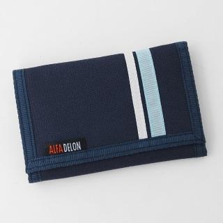 【玖飾時尚】雙線條深藍帆布三折短夾(皮夾)