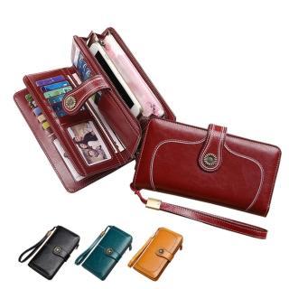 【玩皮工坊】復古牛皮24卡位女士皮夾錢包長夾手拿包女夾LH523(4色可選)