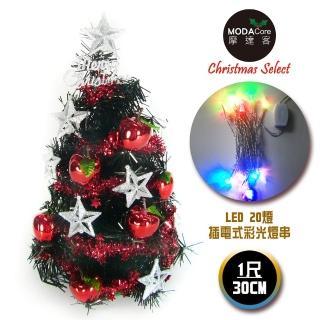 【摩達客】台灣製迷你1呎/1尺30cm銀星紅果裝飾黑色聖誕樹(LED20燈彩光插電式 樹免組裝)