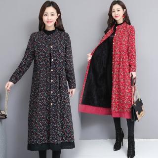 【A.Cheter】京都櫻花落葉輕膚棉絨內暖絲絨長版拼接蕾絲洋裝外套103327#j(4色)