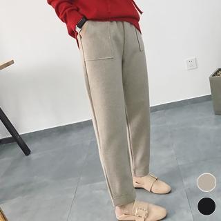 【MsMore】韓國暖冬隨性暖呢方口袋直筒保暖休閒哈倫褲103362#j(2色)