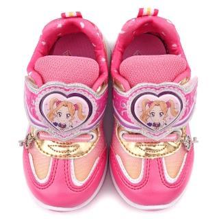 【童鞋城堡】LED燈針織布輕量運動鞋 偶像學園(ID5208-粉)