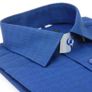 【金安德森】深藍漸層黑窄版長袖襯衫-fast
