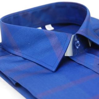 【金安德森】藍底深條紋亮面壓光窄版長袖襯衫-fast