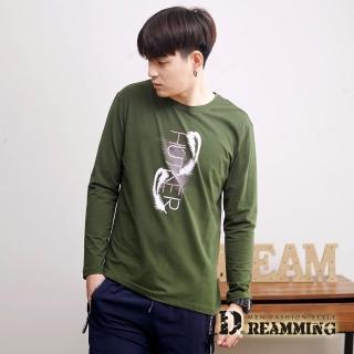 【Dreamming】羽毛圖騰萊卡彈力長袖圓領T(共二色)