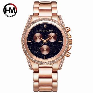 【HANNAH MARTIN】黑夜繁星裝飾三眼不鏽鋼腕錶-黑x40mm(HM-1108)