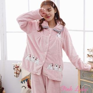 【PINK LADY】保暖法蘭絨長袖成套睡衣 呆萌小熊(粉)