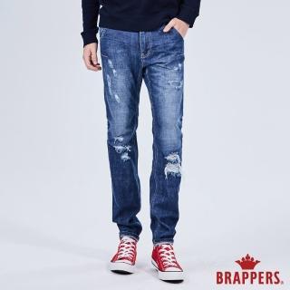 【BRAPPERS】男款 HM-中腰系列-全棉直筒垮褲(藍)
