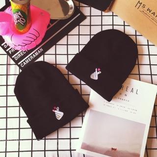 【梨花HaNA】韓國手感針織毛線毛帽極簡米色