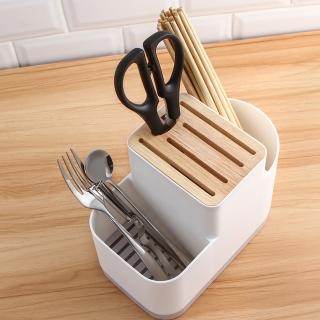 【E.City】多功能可瀝水刀具木質餐具3格收納架(底部瀝水孔設計)