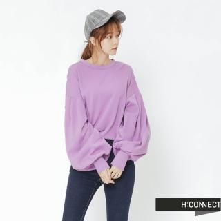 【H:CONNECT】韓國品牌 女裝 -抓皺澎袖造型上衣(紫色)
