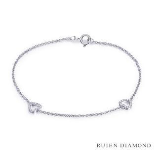 【RUIEN DIAMOND 瑞恩鑽石】輕珠寶系列 10分 鑽石手鍊(18K白金 心心相印)