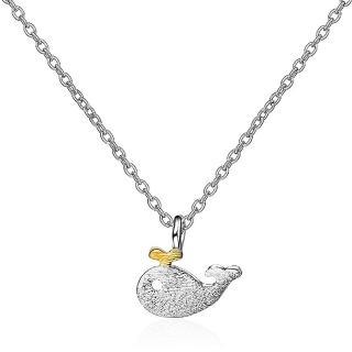 【RJ New York】可愛小海豚黃金色約會短版鎖骨項鍊(白金色)