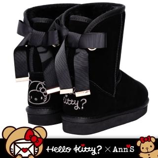 【Ann'S】HELLO KITTY X Ann'S棕色熊熊單色刺繡後織帶蝴蝶結中筒真皮雪靴(黑)