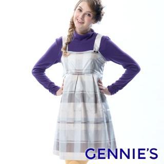 【Gennies 奇妮】輕時尚格紋吊帶洋裝(灰藍/淺卡G2Y02)