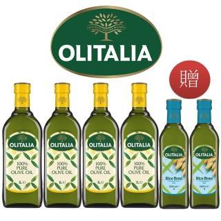 【Olitalia 奧利塔】純橄欖油1000mlx4-禮盒組(贈玄米油500mlx2瓶)