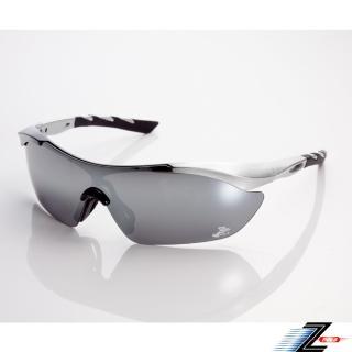 【Z-POLS】黑銀漸層TR90頂級材質框 抗UV400 PC防爆運動太陽眼鏡(輕巧彈性配戴舒適 帥氣水銀電鍍黑)