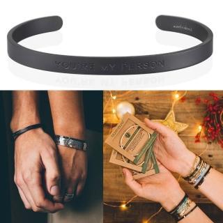 【MantraBand】You are my person 你是我要的 男款寬版霧面黑色手環(悄悄話手環)