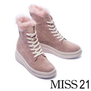 【MISS 21】暖暖兔毛造型麂皮厚底中筒靴(咖)